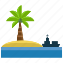 activities, island, ocean, palm, sea, ship, water icon