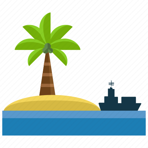activities, island, ocean, palm, sea, ship, water icon