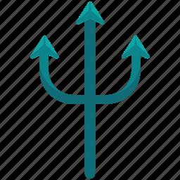 activities, equipment, nautical, trident, water, weapon icon