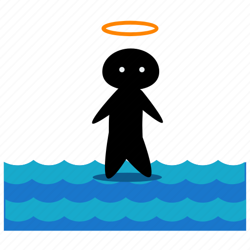 activities, angel, ocean, person, sea, walking, water icon