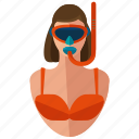 activities, female, mask, person, snorkler, water, women icon