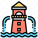 fountain, lighthouse, park, water