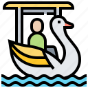 bike, ride, swan, water icon