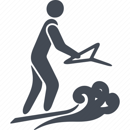 speed, surfing, swimmer, water polo, water sport, wetsuit, wind icon