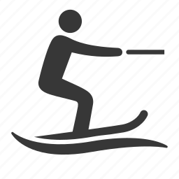 exercise, olympics, raw, simple, sport, water ski, water skiing, water sports icon