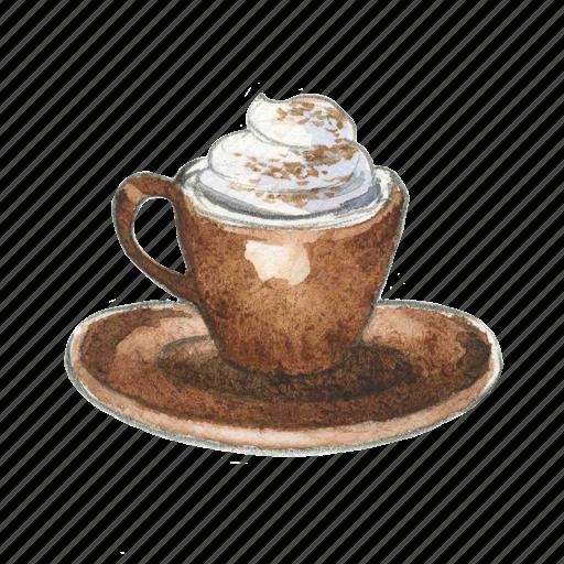 Cappuccino, cocoa, coffee, drink, hot icon