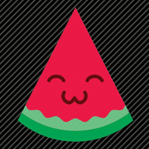 cute, face, happy, smiley, sticker, watermelon icon