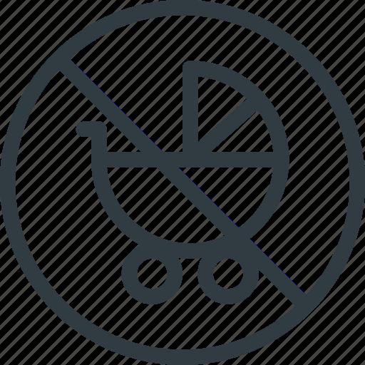 allowed, find, no, pram, sign, wayfinding icon