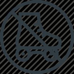 find, no, rollerskating, sign, wayfinding icon