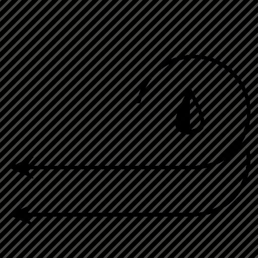 arrows, drop, rain, way, wind icon