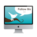 follow me, mac monitor, screen, twitter icon