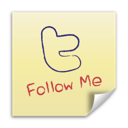 follow me, post it, twitter icon