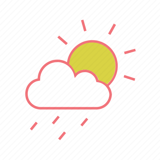 cloud, drizzle, raining, rainy, season, sunshower, weather icon