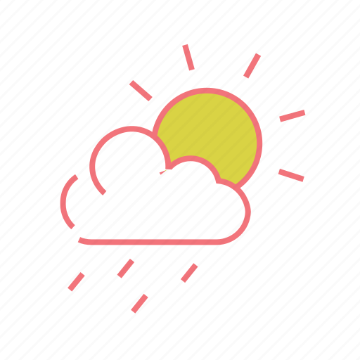 cloud, drizzle, raining, rainy, sun and rain, sunshower, weather icon