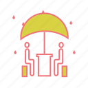drizzle, rain, raining, rainy, restaurant, umbrella, weather icon