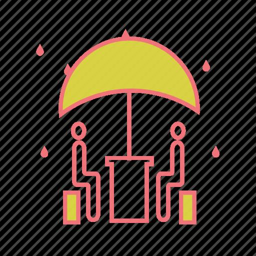 drizzle, rain, raining, rainy, restaurant, umbrella, weather icon