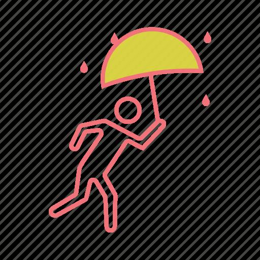 drizzle, escape, rain, raining, run, umbrella, wet icon
