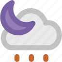 cloud, crescent, moon, night weather, raindrops, rainy night, sun icon