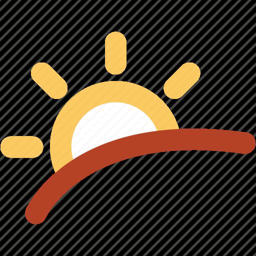 lower sun, morning, mountain, sun rising, sunlight, sunrise icon