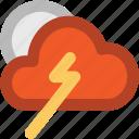 cloud thunder, cloudy weather, lightning, storm, thunder, thunderstorm icon