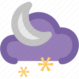 cloud, moon, night, night moon, raining, snow, weather icon