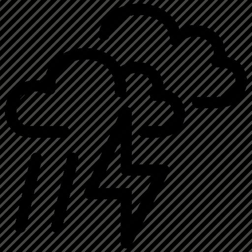 cloudy, lightning, prediction, rain, small, storm icon