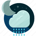 cloud, moon, night, rain, waterdrops, weather icon