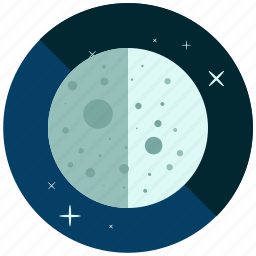 cycle, first, moon, night, phase, quarter, weather icon