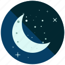 moon, night, stars, time, weather icon