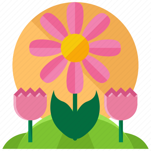 daisy, flower, spring, tulip, weather icon