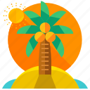 heat, island, palm, summer, tree, tropical icon