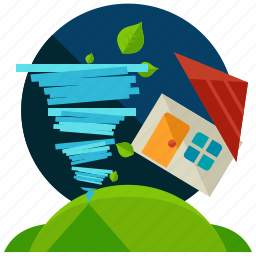 home, house, leaf, storm, tornado, weather icon