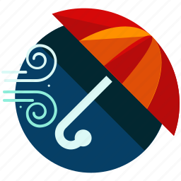 gust, strong, umbrella, weather, wind icon