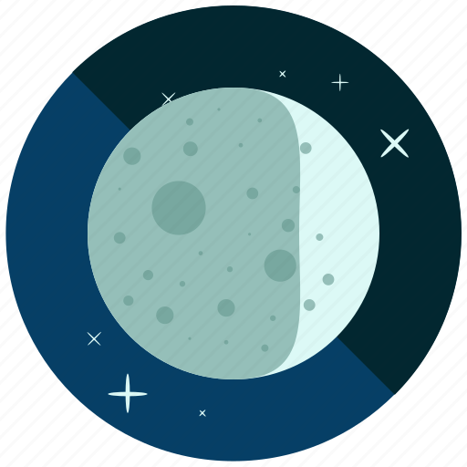 crescent, cycle, moon, night, phase, waxing icon