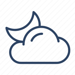 climate, cloud, cloudy, forecast, moon, night, weather icon