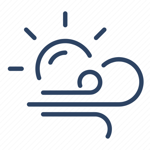 climate, day, forecast, sun, weather, wind, windy icon