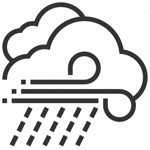 cloud, forecast, information, rain, sign, weather, wind icon