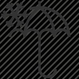 forecast, information, sign, snowflake, umbrella, weather icon