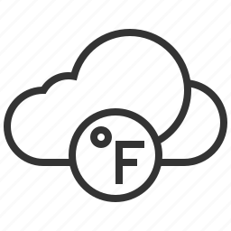 cloud, fahrenheit, forecast, information, sign, weather icon