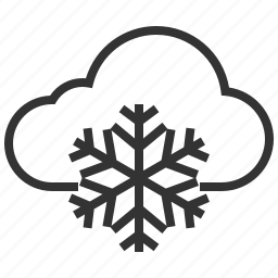 cloud, cloudy, forecast, information, sign, snowflake, weather icon