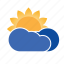 cloud, forecast, precipitation, sun, weather icon