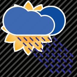 cloud, clouds, cloudy, forecast, humid, rain, rainy, shower, sun, sun shower, weather icon