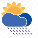 cloud, forecast, humid, precipitation, rain, rainy, sun, sun shower, weather icon