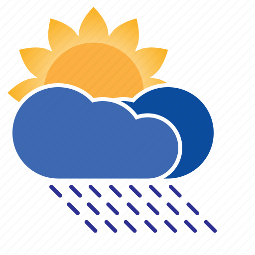 cloud, forecast, humid, precipitation, rain, rainy, sun, sun shower, weather icon