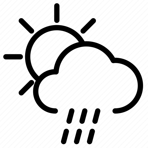 cloud, forecast, morning, rain, sun, sunny, weather icon