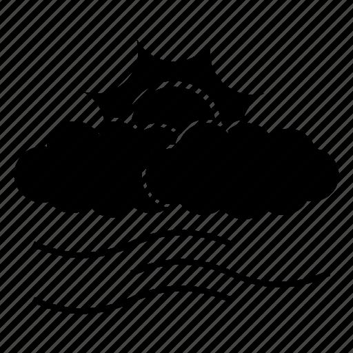 climate, cloud, rain, sun, weather, wind icon