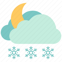 air, atmosphere, cloudy, moon snow, sky, snow night, weather icon