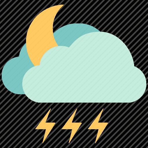 air, atmosphere, lightning, lightning night, moon lightning, sky, weather icon