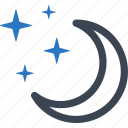 clear night, moon, stars icon