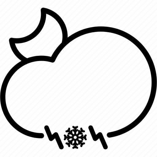 cloud, electricity, light, moon, snow, thunder, weather icon